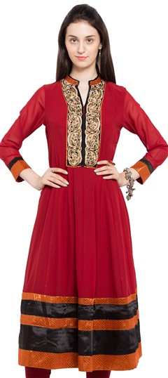 470243 Red and Maroon  color family Anarkali style Kurtis in Faux Georgette fabric with Lace,Moti,Patch,Sequence,Zardozi work .