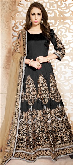 470439 Black and Grey  color family Anarkali Suits in Bhagalpuri, Silk fabric with Machine Embroidery, Thread, Zari work .