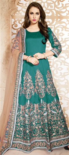 470440 Green  color family Anarkali Suits in Bhagalpuri,Silk fabric with Machine Embroidery,Thread,Zari work .