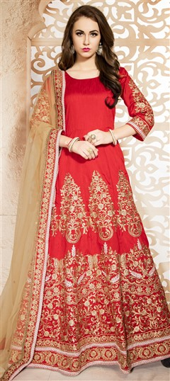 470442 Red and Maroon  color family Anarkali Suits in Bhagalpuri,Silk fabric with Machine Embroidery,Thread,Zari work .