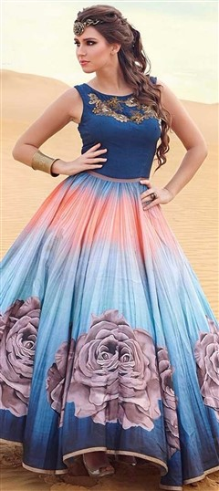 470852 Blue, Pink and Majenta  color family gown in Silk fabric with Printed work .