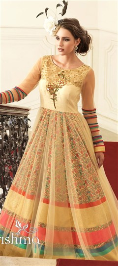 470853 Beige and Brown  color family gown in Bhagalpuri fabric with Printed work .