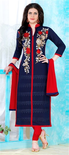 471350 Blue  color family Cotton Salwar Kameez, Party Wear Salwar Kameez in Cotton fabric with Lace, Machine Embroidery, Thread work .