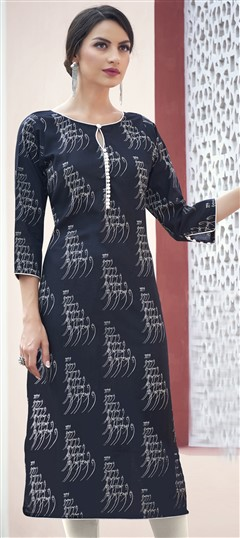 472537 Black and Grey  color family Cotton Kurtis, Printed Kurtis in Cotton fabric with Printed work .