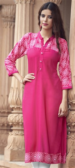 472538 Pink and Majenta  color family Cotton Kurtis, Printed Kurtis in Cotton, Rayon fabric with Printed work .