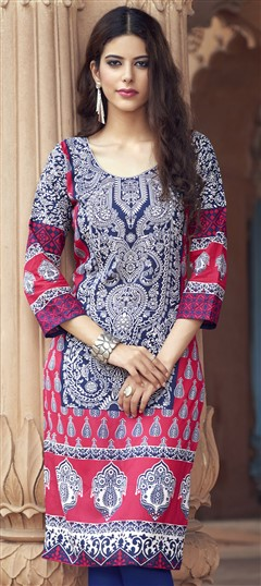 472545 Blue, Pink and Majenta  color family Cotton Kurtis, Printed Kurtis in Cotton fabric with Printed work .