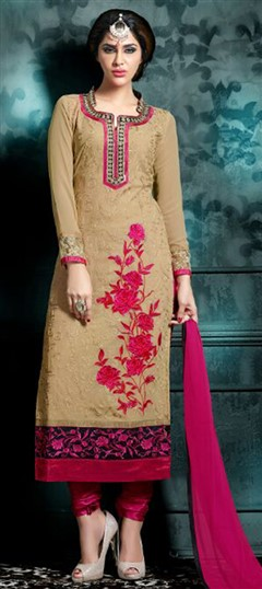 472698 Beige and Brown  color family Party Wear Salwar Kameez in Faux Georgette fabric with Lace,Machine Embroidery,Thread work .