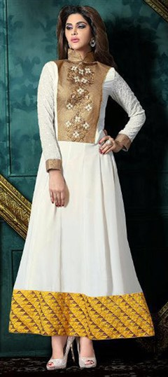 472701 White and Off White  color family Anarkali Suits in Faux Georgette fabric with Lace, Machine Embroidery, Thread work .