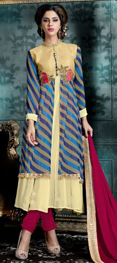 472704 Beige and Brown, Blue  color family Party Wear Salwar Kameez in Faux Georgette fabric with Lace, Machine Embroidery, Patch, Thread work .