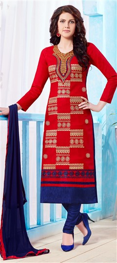 472787 Red and Maroon  color family Cotton Salwar Kameez, Party Wear Salwar Kameez in Cotton fabric with Lace, Machine Embroidery, Resham, Thread work .