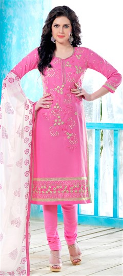 472793 Pink and Majenta  color family Cotton Salwar Kameez, Party Wear Salwar Kameez in Cotton fabric with Lace, Machine Embroidery, Resham, Thread work .