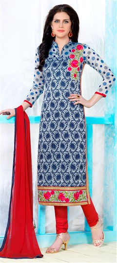 472794 Multicolor  color family Cotton Salwar Kameez, Party Wear Salwar Kameez in Cotton fabric with Lace, Machine Embroidery, Resham, Thread work .