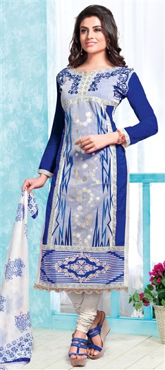 472796 Blue  color family Cotton Salwar Kameez, Party Wear Salwar Kameez in Cotton fabric with Lace, Machine Embroidery, Resham, Thread work .