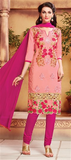 472799 Pink and Majenta  color family Cotton Salwar Kameez, Party Wear Salwar Kameez in Cotton fabric with Lace, Machine Embroidery, Resham, Thread work .