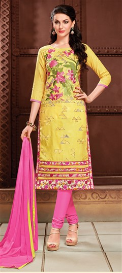 472801 Yellow  color family Cotton Salwar Kameez, Party Wear Salwar Kameez in Cotton fabric with Lace, Machine Embroidery, Resham, Thread work .