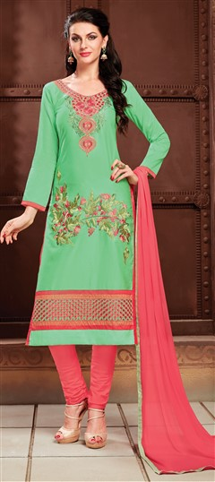 472806 Green  color family Cotton Salwar Kameez, Party Wear Salwar Kameez in Cotton fabric with Lace, Machine Embroidery, Resham, Thread work .