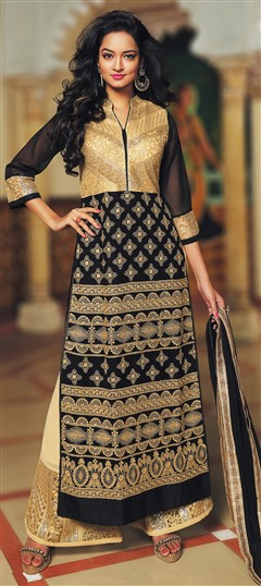 473096 Beige and Brown, Black and Grey  color family Party Wear Salwar Kameez in Fancy Fabric fabric with Machine Embroidery, Thread work .