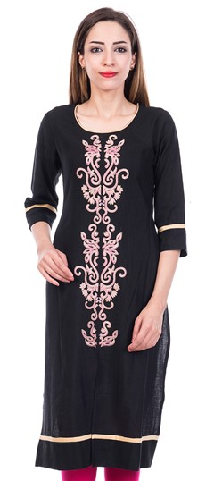 473205 Black and Grey  color family Cotton Kurtis in Cotton fabric with Machine Embroidery,Thread work .