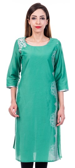 473206 Green  color family Cotton Kurtis in Cotton fabric with Printed,Thread work .