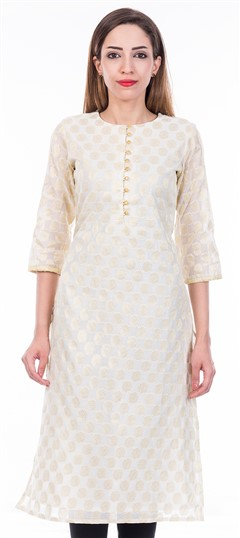 473207 Beige and Brown  color family Cotton Kurtis in Cotton fabric with Thread work .