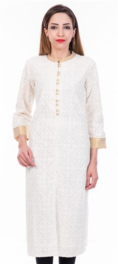 473208 White and Off White  color family Cotton Kurtis in Cotton fabric with Thread work .