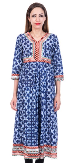 473215 Blue  color family Anarkali style Kurtis in Cotton fabric with Printed work .