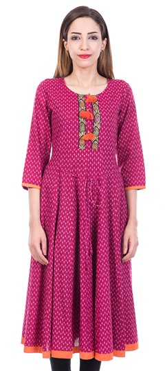 473216 Pink and Majenta  color family Anarkali style Kurtis in Cotton fabric with Printed work .