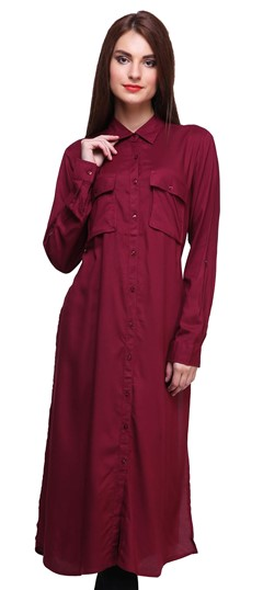 474448 Red and Maroon  color family Kurti in Rayon fabric with Thread work .