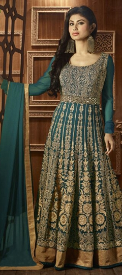 474572 Green  color family Anarkali Suits in Faux Georgette fabric with Lace,Machine Embroidery,Thread work .