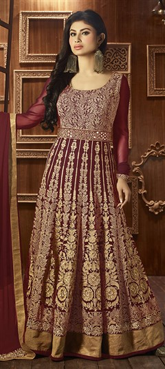 474573 Red and Maroon  color family Anarkali Suits in Faux Georgette fabric with Lace,Machine Embroidery,Thread work .