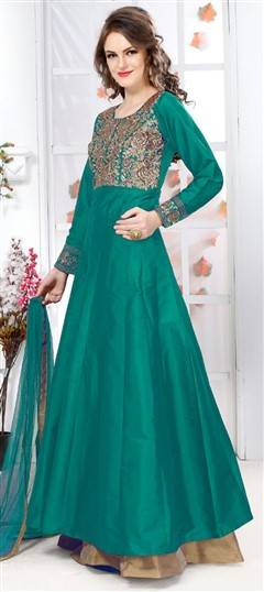 474876 Green  color family Anarkali Suits in Silk fabric with Machine Embroidery, Thread work .