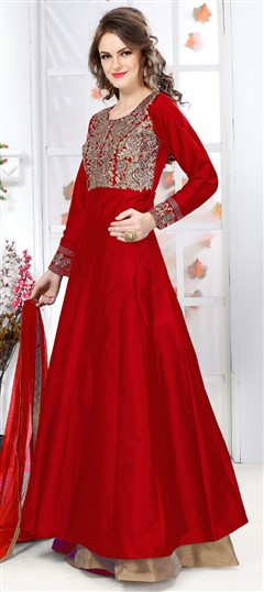 474878 Red and Maroon  color family Anarkali Suits in Silk fabric with Machine Embroidery,Thread work .