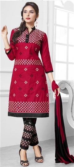 475201 Red and Maroon  color family Cotton Salwar Kameez in Cotton fabric with Lace, Machine Embroidery, Resham, Thread work .