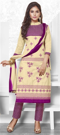 475203 Beige and Brown, Purple and Violet  color family Cotton Salwar Kameez in Cotton fabric with Lace, Machine Embroidery, Resham, Thread work .