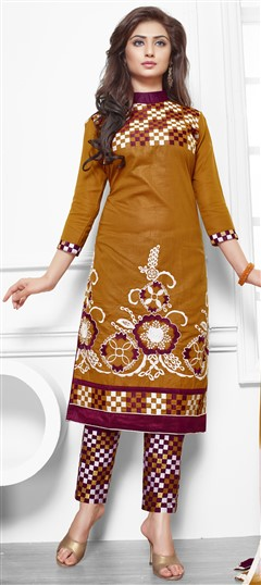 475210 Beige and Brown  color family Cotton Salwar Kameez in Cotton fabric with Lace, Machine Embroidery, Resham, Thread work .