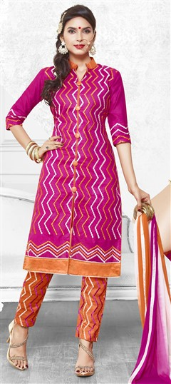 475211 Pink and Majenta  color family Cotton Salwar Kameez in Cotton fabric with Lace, Machine Embroidery, Resham, Thread work .