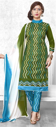 475212 Green  color family Cotton Salwar Kameez in Cotton fabric with Lace,Machine Embroidery,Resham,Thread work .
