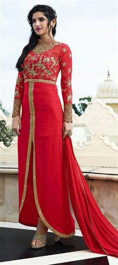 475280 Red and Maroon  color family Party Wear Salwar Kameez in Faux Georgette fabric with Lace, Machine Embroidery, Resham, Stone, Thread, Zari work .