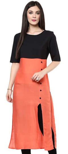 475307 Black and Grey,Orange  color family Kurti in Satin fabric with Thread work .