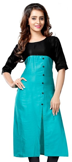 475308 Black and Grey,Blue  color family Kurti in Satin fabric with Thread work .