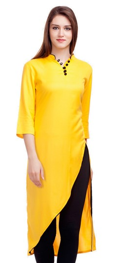 475311 Yellow  color family Kurti in Satin fabric with Thread work .