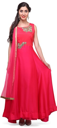 475365 Pink and Majenta  color family Anarkali Suits in Satin, Silk fabric with Mirror, Patch work .