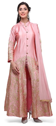 475366 Pink and Majenta  color family Party Wear Salwar Kameez in Raw Dupion Silk fabric with Machine Embroidery, Stone, Thread work .