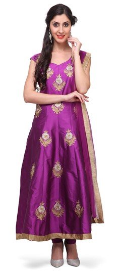 475367 Purple and Violet  color family Anarkali Suits in Art Dupion Silk fabric with Lace, Machine Embroidery, Stone, Thread, Zari work .