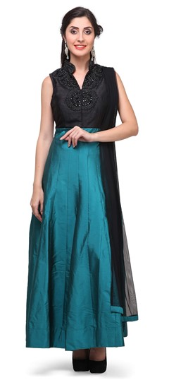 475368 Black and Grey, Blue  color family Anarkali Suits in Raw Dupion Silk fabric with Bugle Beads, Machine Embroidery, Stone, Thread work .