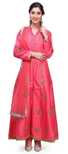 475370 Pink and Majenta  color family Party Wear Salwar Kameez in Raw Dupion Silk fabric with Machine Embroidery, Stone, Thread, Zari work .