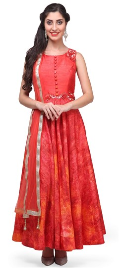 475371 Orange  color family Anarkali Suits in Silk fabric with Machine Embroidery, Stone, Thread work .