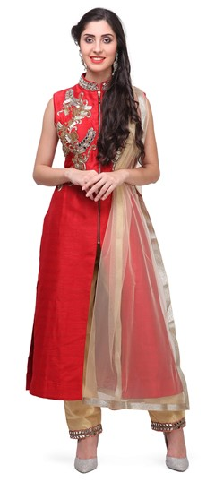 475375 Red and Maroon  color family Party Wear Salwar Kameez in Raw Dupion Silk fabric with Bugle Beads, Mirror, Patch work .