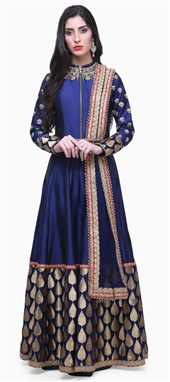475378 Blue  color family Anarkali Suits in Brocade, Silk fabric with Lace, Machine Embroidery, Sequence, Thread work .