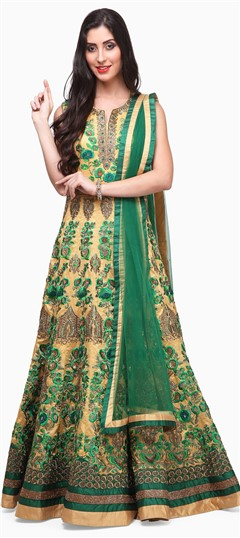 475379 Beige and Brown,Green  color family Anarkali Suits in Raw Dupion Silk fabric with Lace,Machine Embroidery,Sequence,Stone,Thread work .